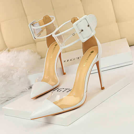 Fashionable shallow mouth pointed transparent hollow stitching hollow word with belt buckle sandals