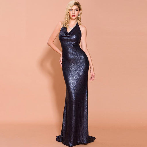 Party Sparkle Sleeveless Halter Sapphire Blue Evening Gown