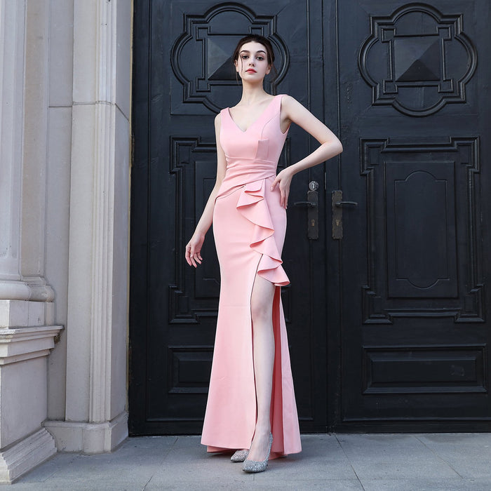Night Club deep V-neck Pink  dress