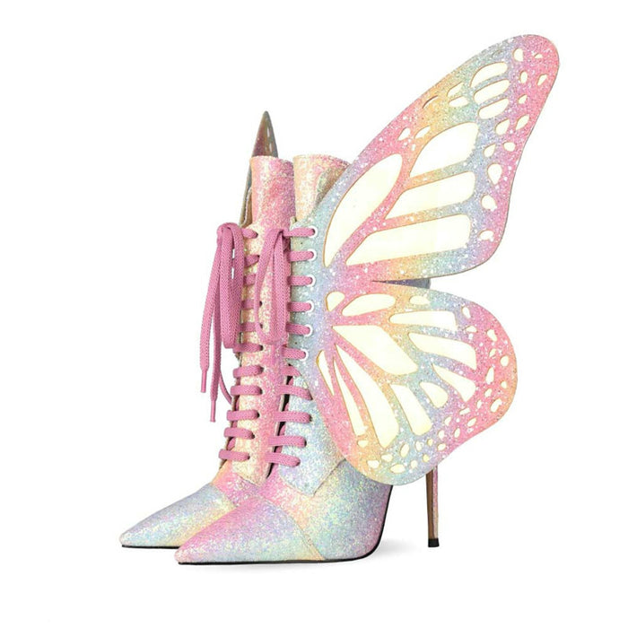 Sparkly Butterfly Pointed  Heels Ankle Boots