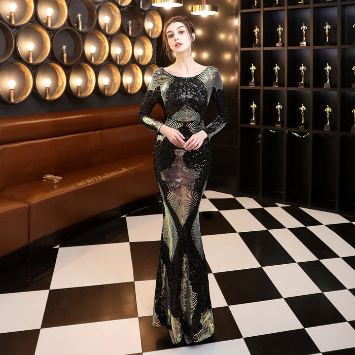 Night Club Sequins Black Long dress