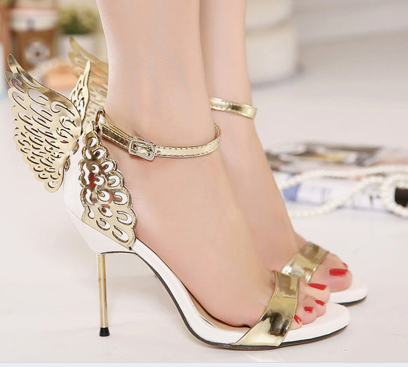 Party Shiny  Colorful butterfly wings  High Heels Sandals