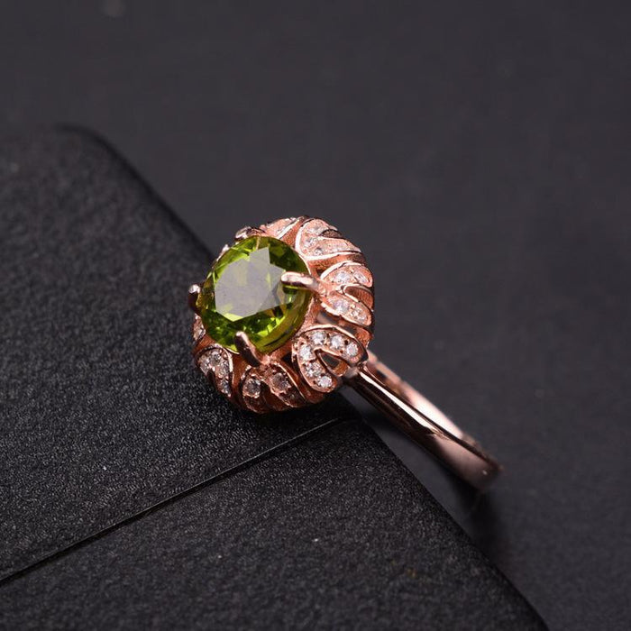 Pure generous s925 sterling silver peridot women's birthday ring