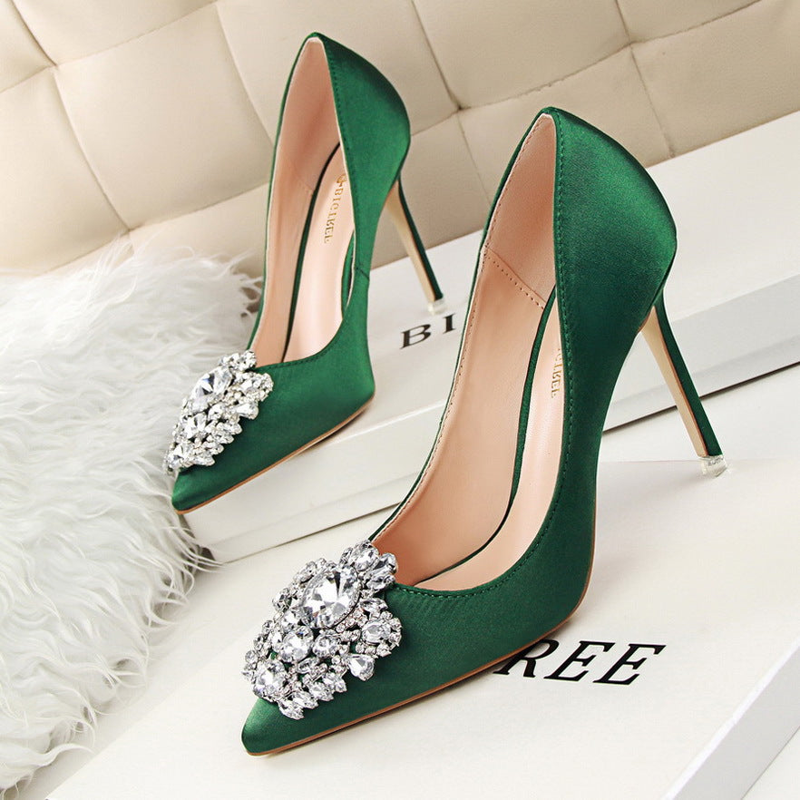 Shallow mouth pointed rhinestone buckle high-heeled shoes