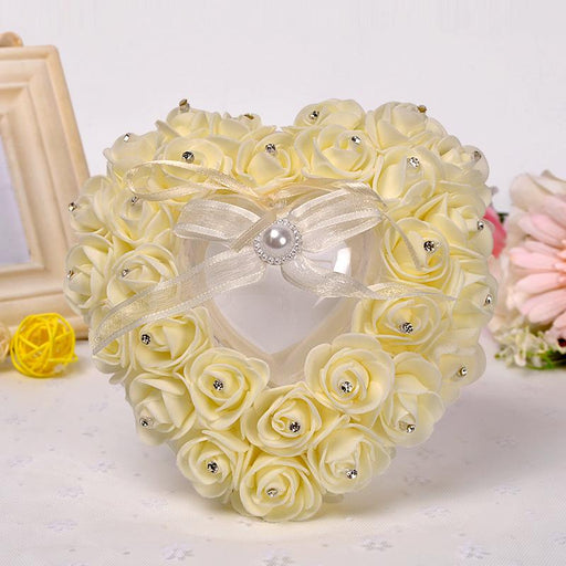 Rose-shaped diamond ring pillow heart-shaped ring pillow