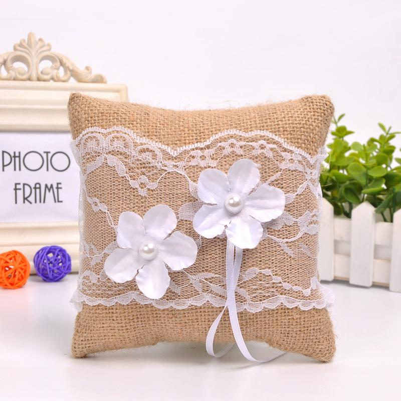 Linen lace handmade ring pillow