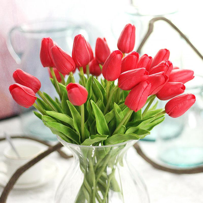Comfyee Real Looking Dried Red Bridal Artificial Tulip Silk Flower