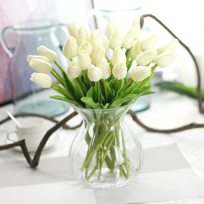Comfyee White Wedding Artificial Tulip Silk Flower