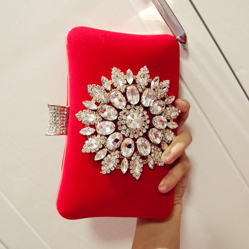 Diamond Evening Bag Soft Face Lock One Shoulder Velvet Crossbody Bag