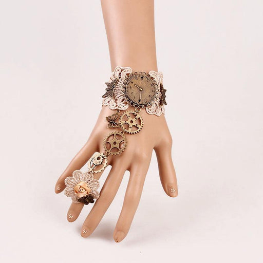 Fancy Lolita Gothic lace retro high-end bracelet with ring gear clock hands