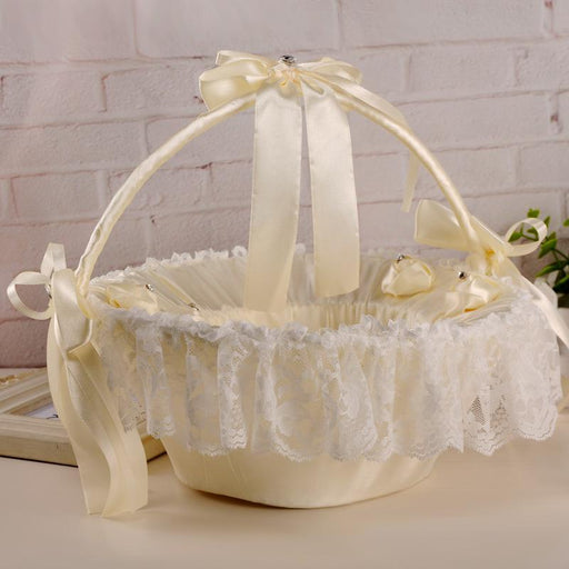Lace pearl flower wedding flower basket