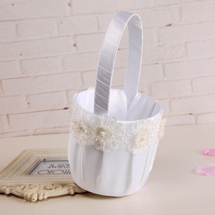 Bride lace wedding bridesmaid hand flower basket