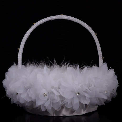 New elegant wedding ceremony party ostrich flower girl hand flower basket