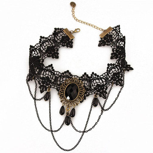 Fancy Lolita  Black Lace Necklace Short Necklace Clavicle Necklace