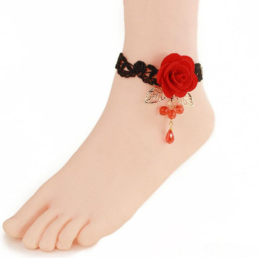 Fancy Pastel Black lace red crystal rose flower anklet