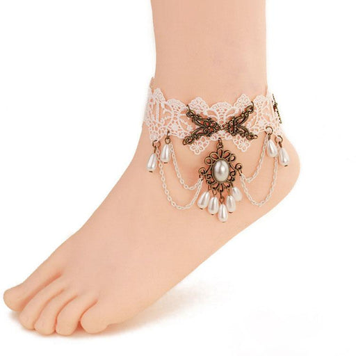 Fairy Lolita girl sweet white lace ankle strap tassel foot ring