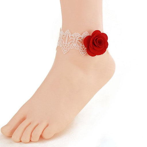 Fancy Sweet White lace rose foot ring