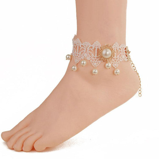 Fairy Pastel White lace gold-plated pearl anklet