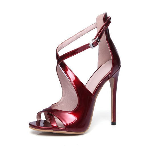 Night Club Shiny Fish mouth  Red wine  High Heels Sandals