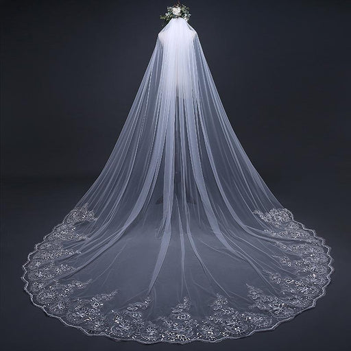 Ivory Cathedral Wedding Veil Lace Bridal Veil Long Wedding Veil Chapel Wedding Veil White Wedding Veil Lace Veil Flower Lace Bridal Veil