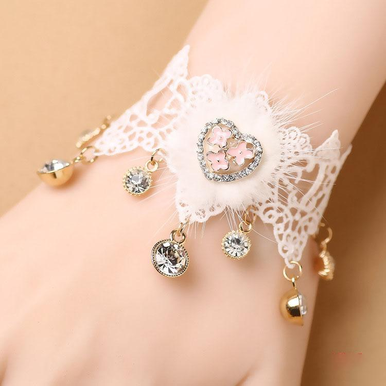 Fairy Pastel Lacy Love heart mink plush lace bracelet with rhinestone bracelet