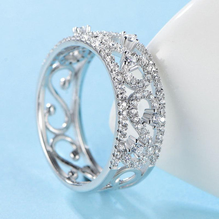 Vintage sterling silver lady zircon ring