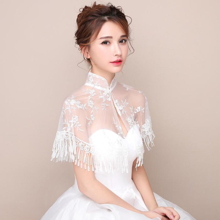 Bridal wedding dress wedding dress cheongsam stand collar lace mesh shawl cloak tassel