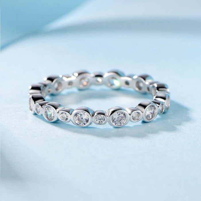 Sterling silver diamond ring for ladies