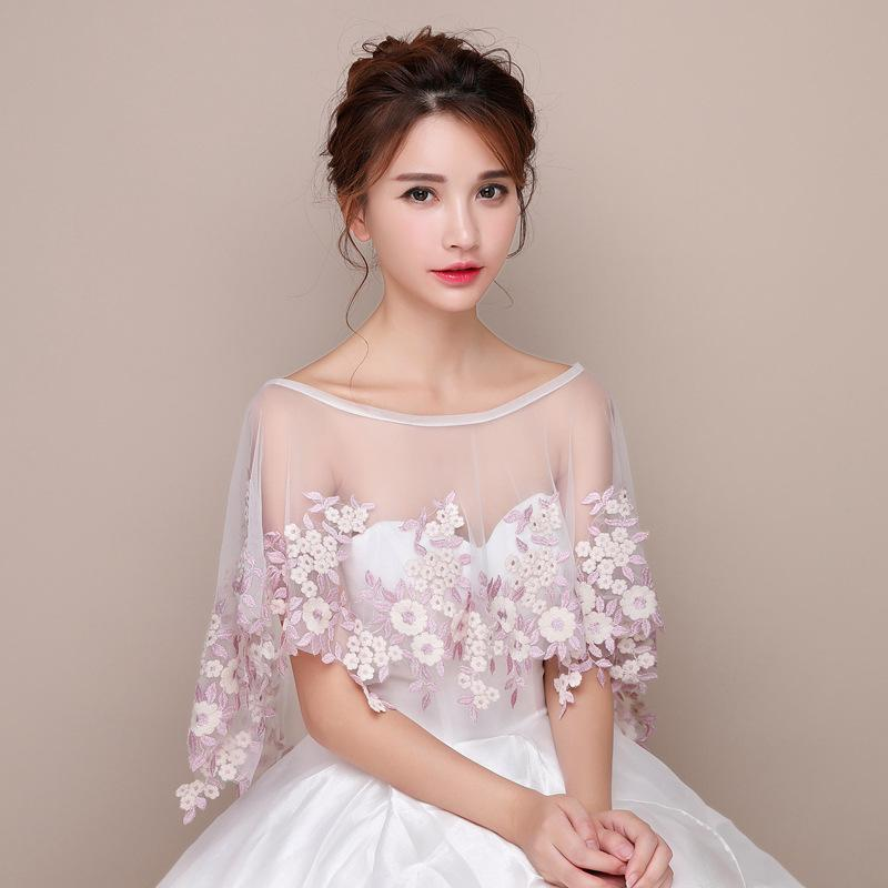 Bridal wedding dress with lace cape and tulle cloak jacket waistcoat pink flowers