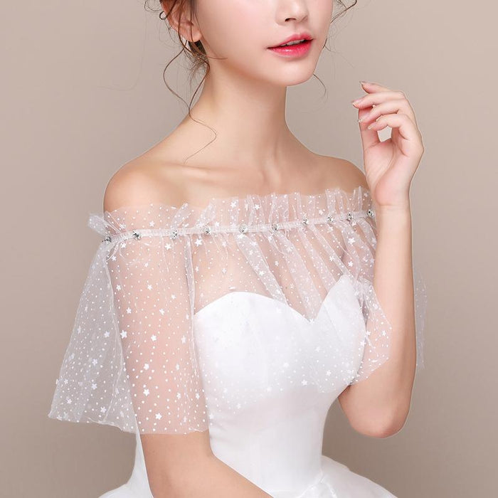 Bridal wedding dress accessories star lace shawl word shoulder strap rhinestone