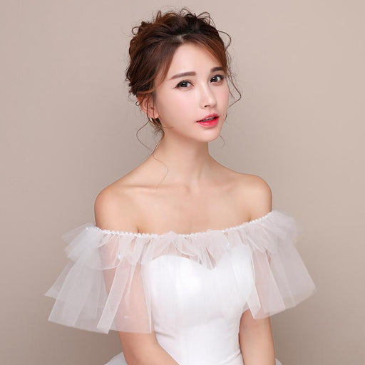 Straight shoulder flat shoulder bride net shawl wedding wedding dress accessories cover arm shawl