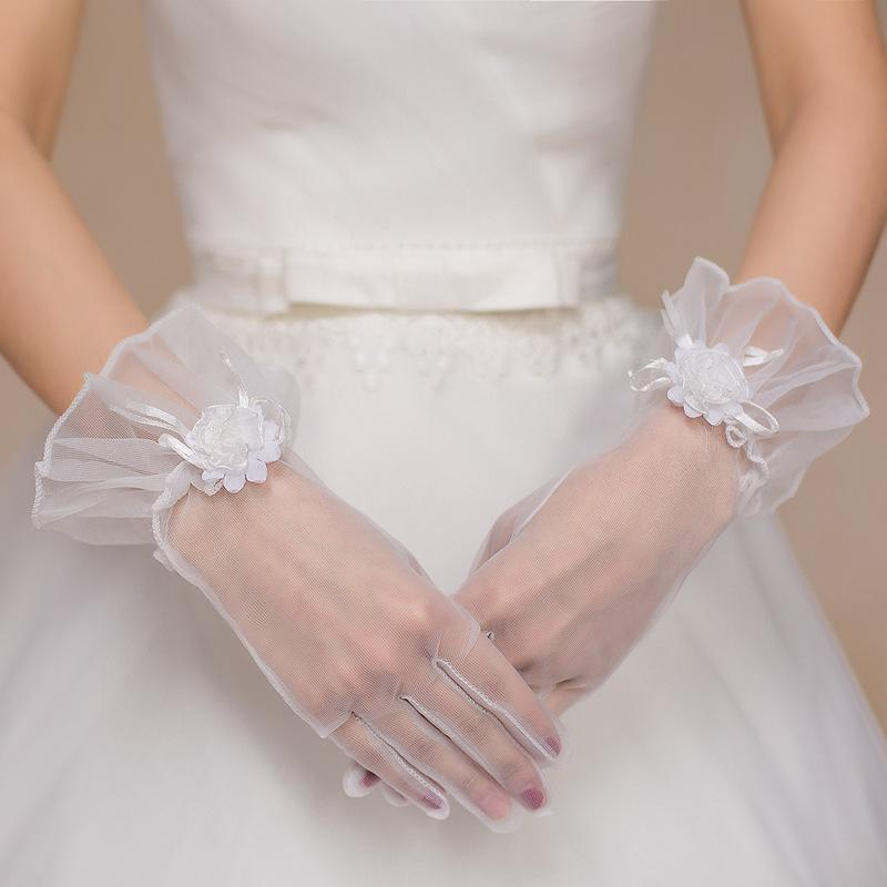 Wedding full-fingered gloves mittens transparent soft soft elastic three-dimensional flowers