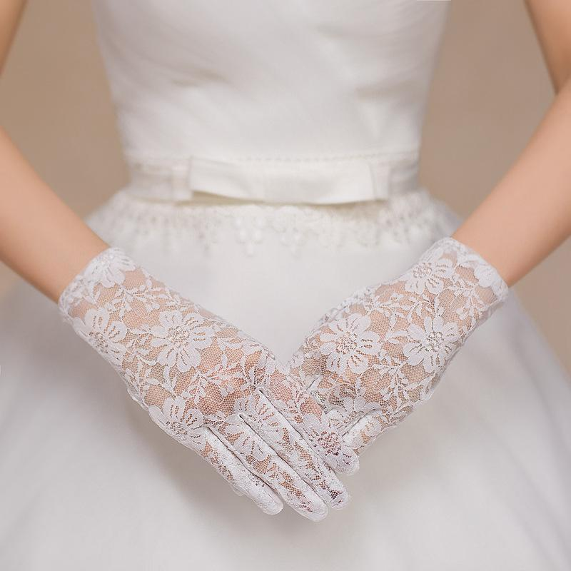 Ceremonial performance wedding lace short breathable mittens