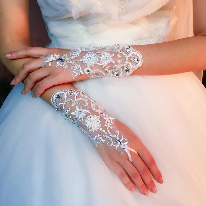 Bridal wedding lace fingerless hook gloves short three-dimensional flowers rhinestones
