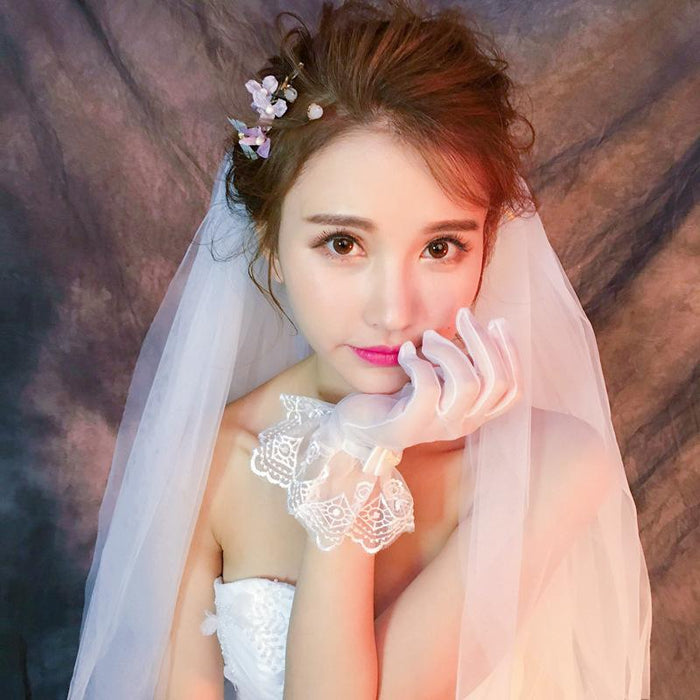 Short soft yarn lace breathable bow wedding ceremony full finger gloves