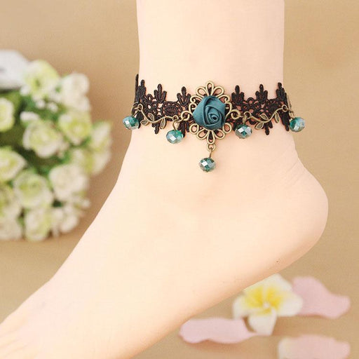 Fairy Pastel Lacy European and American retro fashion rose black lace anklet