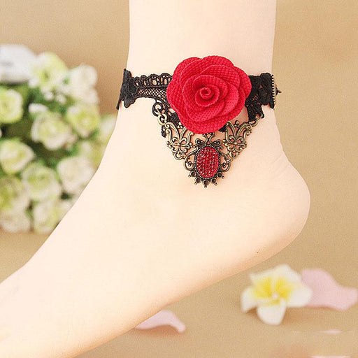 Gothic style handmade DIY personalized fashion anklet lace anklet