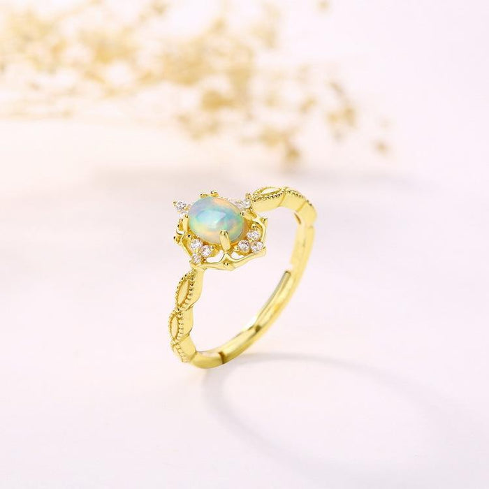 Floral retro gold-plated s925 sterling silver peridot women's birthday ring