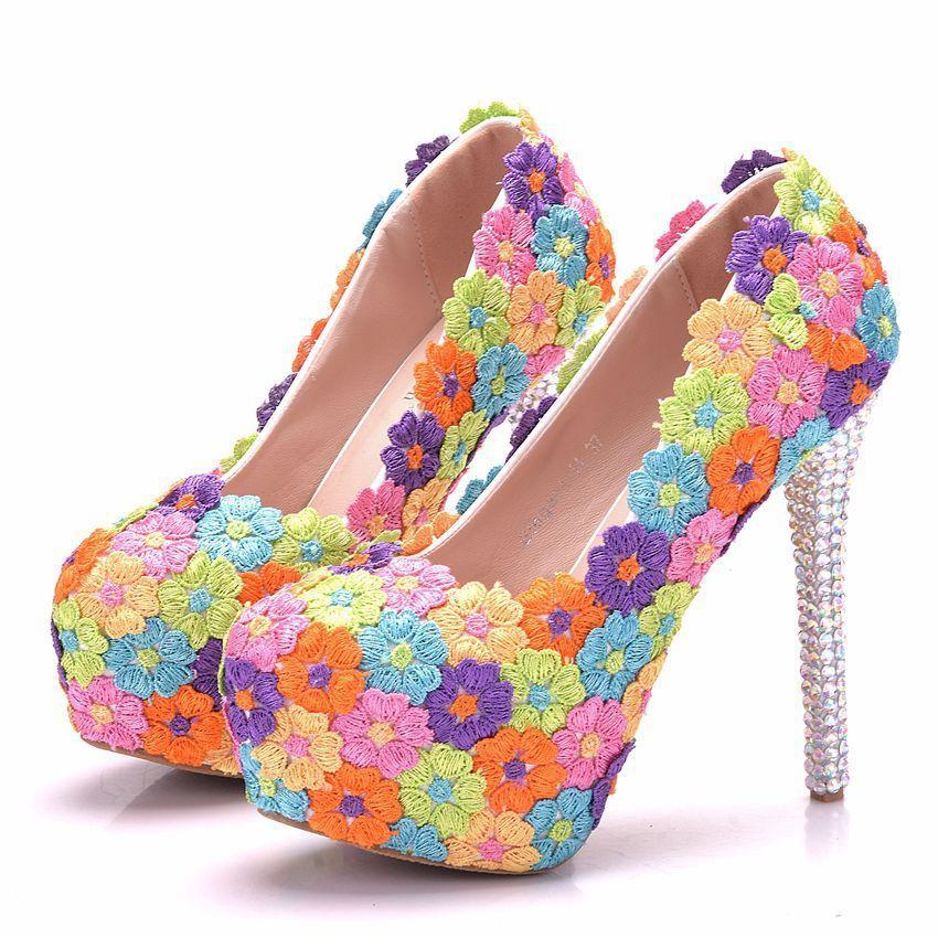 Bridal  Heels -Colourful Lace Flower High Heels