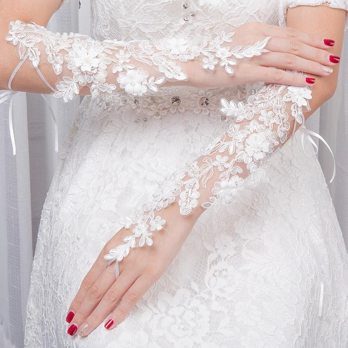 Lace flowers and pearls bridal wedding wedding wedding dress hook fingerless straps gloves