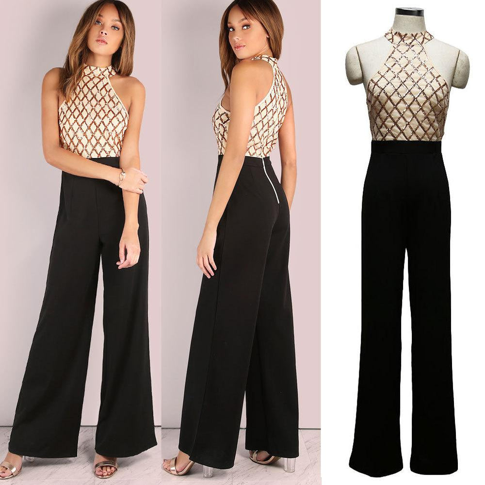 Women's sexy jumpsuit with neck sequins and flared pantaloons