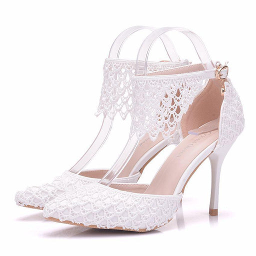 Bridal  Heels -Hollowing out Lace
