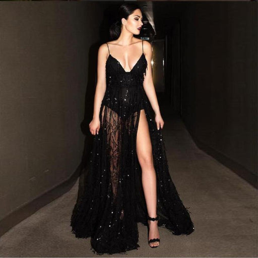 Black sequined slim strapless evening dress sexy halter dress