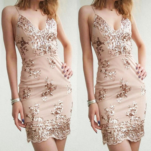 Sexy sequined skirt V neck club halter dress