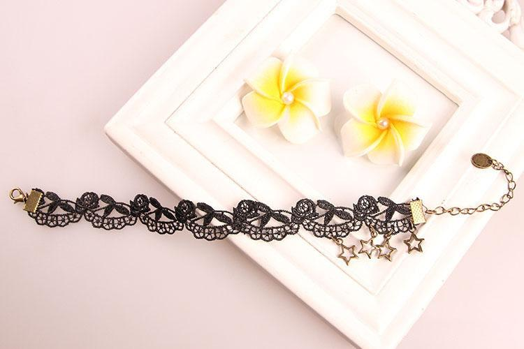 Fairy Sweet Lacy European and American Gothic Retro Black Lace Pentagram Anklet Jewelry