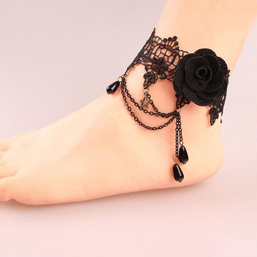 Fairy Girly Lacy Gothic vintage black rose lace anklet