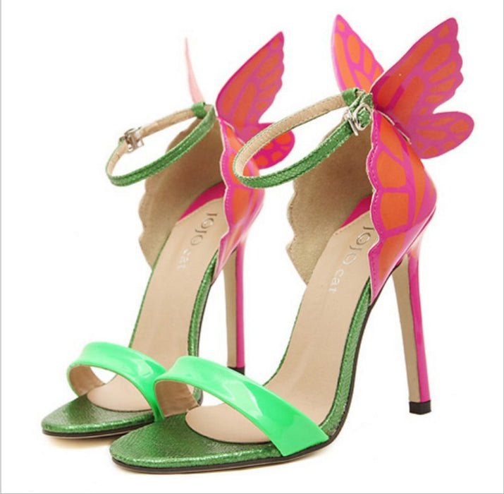 Night Club Fantasy JC Vampire Diaries Colorful Butterfly High Heel Sandals