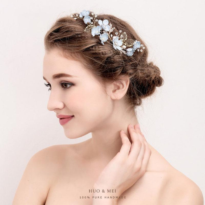 Pearl blue diamond hair comb U-shaped hair plug hairpin, hairpin. Hair comb