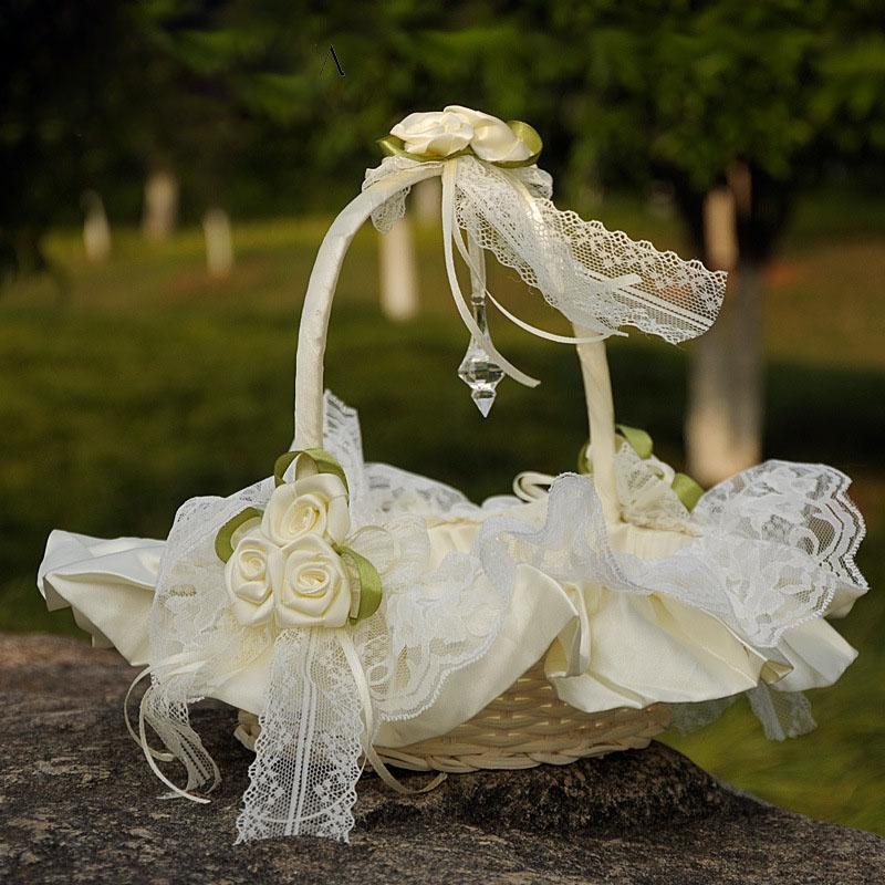 Flower Girl Flower Basket Bridesmaid Hand Basket Lace Wedding Flower Basket, Wedding Flower Basket