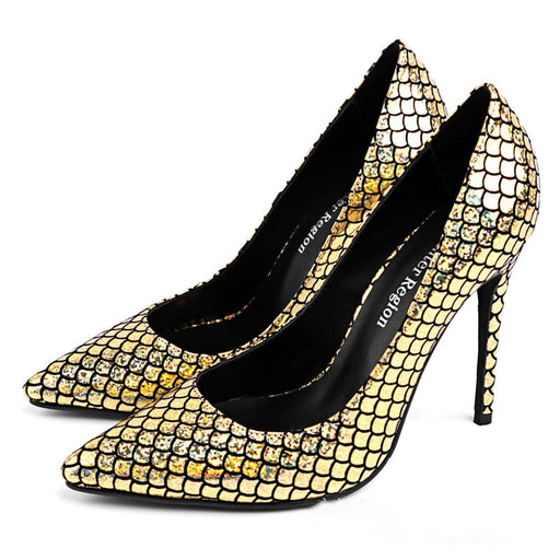 Night Club Sparkly   Serpentine  Fine heel High Heels